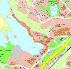 Saneerausalue kartalla.