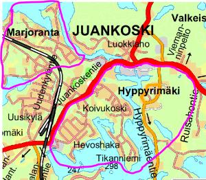 Kartalla alue, jossa vesimittarinvaihtoja suoritetaan.